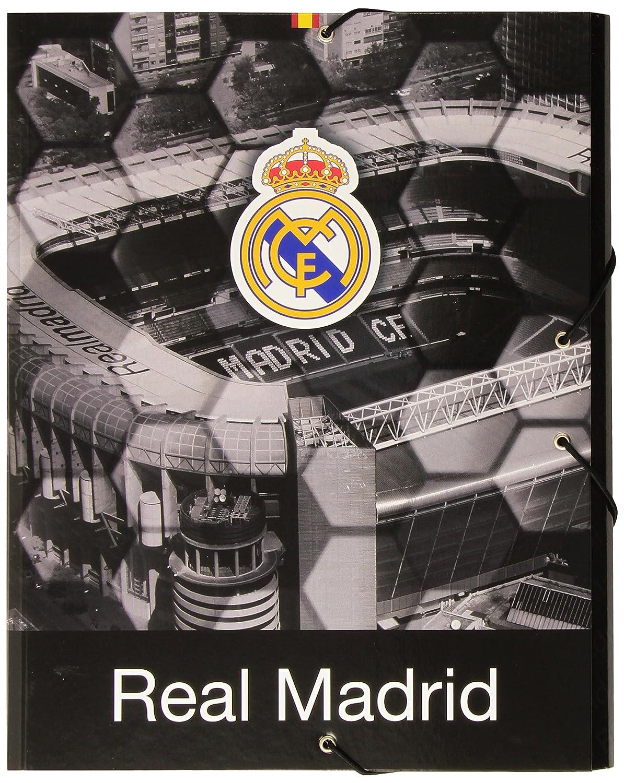 Safta SF-511557-068 - Carpeta carton folio gomas solapas, diseño Real Madrid: Amazon.es: Oficina y papelería