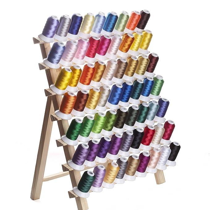 Simthreads 63 colores de poliéster hilo de bordar - 500 Metros / Carrete: Amazon.es: Hogar