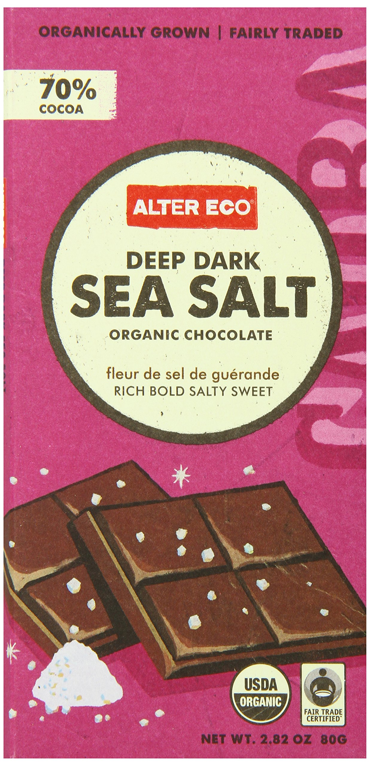 Alter Eco - Chocolate - Dark Sea Salt 70% - Single, 2.82 Ounce