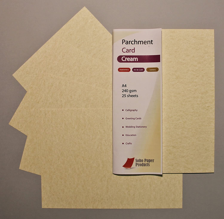Carta da pergamena, colore crema, formato A4, 240 g/mq Soho Paper Products