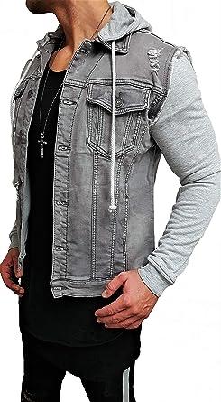 Professionel neues Design große Sammlung Destroyed Jeansjacke Denim Jeans Jacke Kapuzenjacke Hoodie Herren  sommerjacke sommer Grau black biker motorrad Designer Blouson Sweat men  leather ...