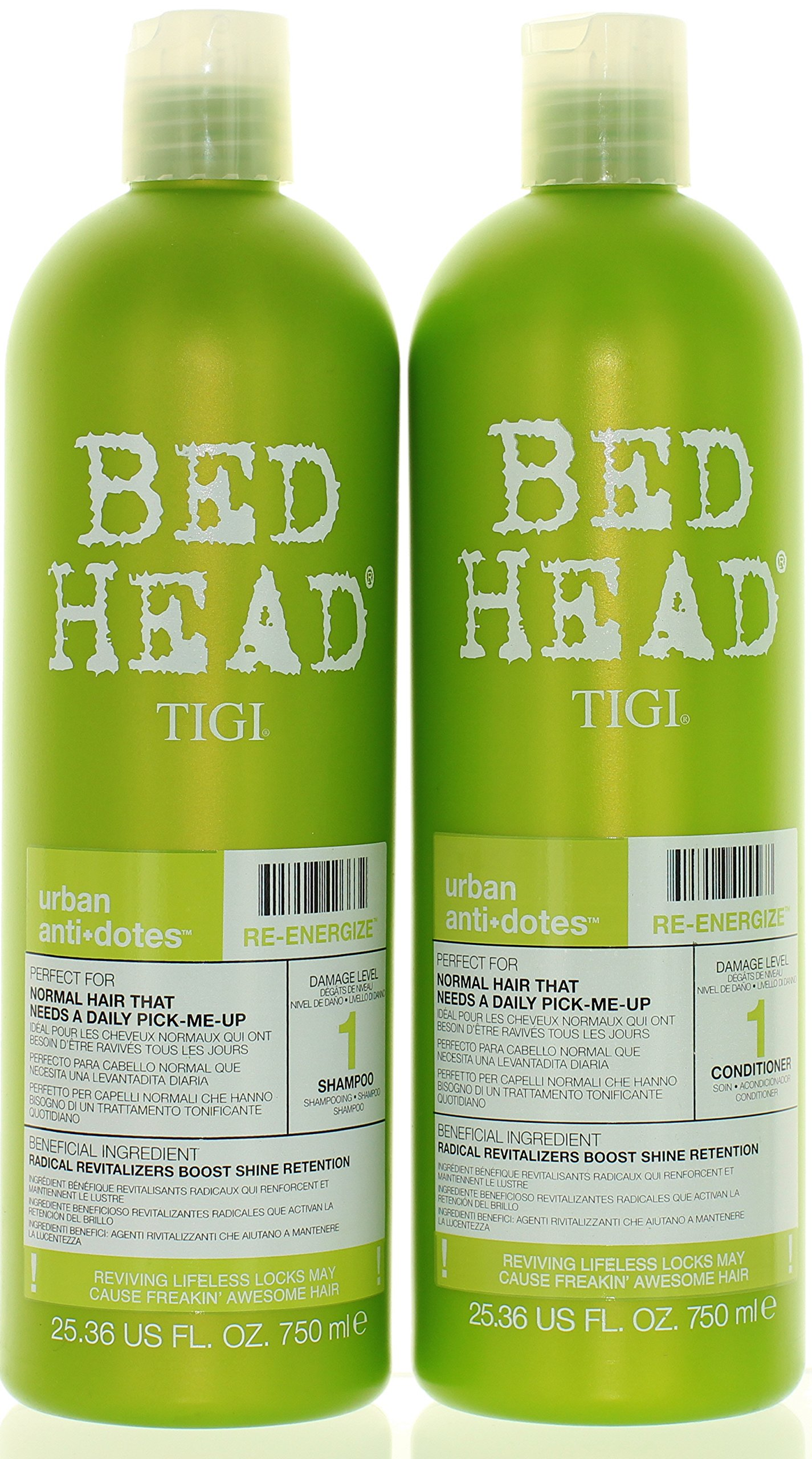 TIGI Bed Head Re-Energize Shampoo and Conditioner Duo, 25.36 oz