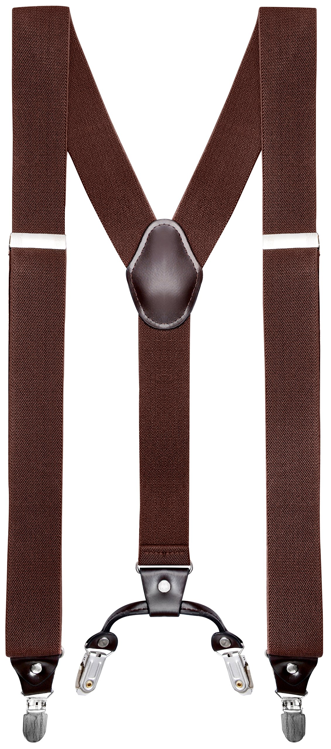Buyless Fashion Mens 48'' Elastic Adjustable 1 1/4'' Suspenders In Y Shape - Brown