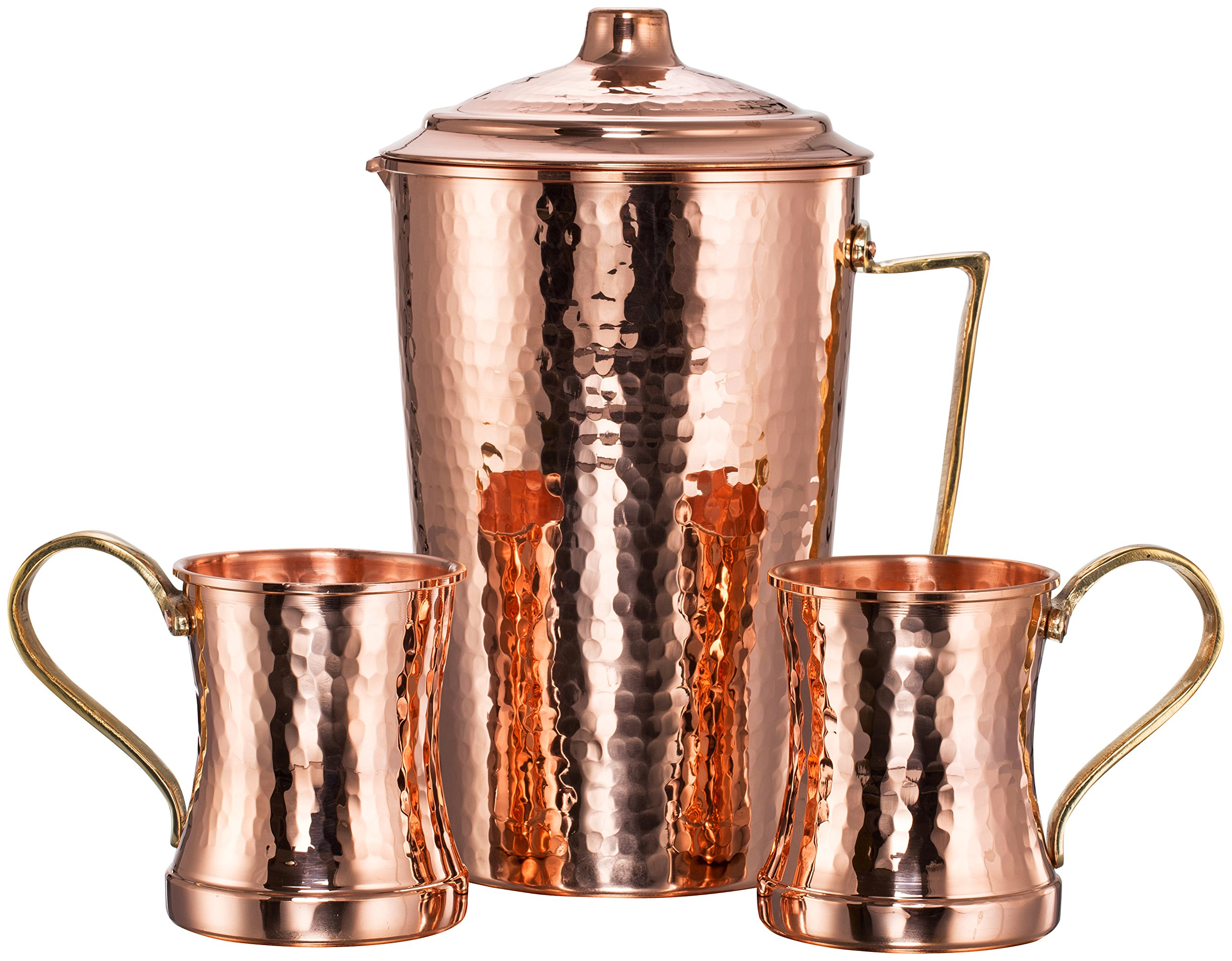 *NEW* THICKEST CopperBull Heavy Gauge 100% Pure Solid Hammered Copper Moscow Mule Water Serving Set (Pitcher & 2 Mugs)