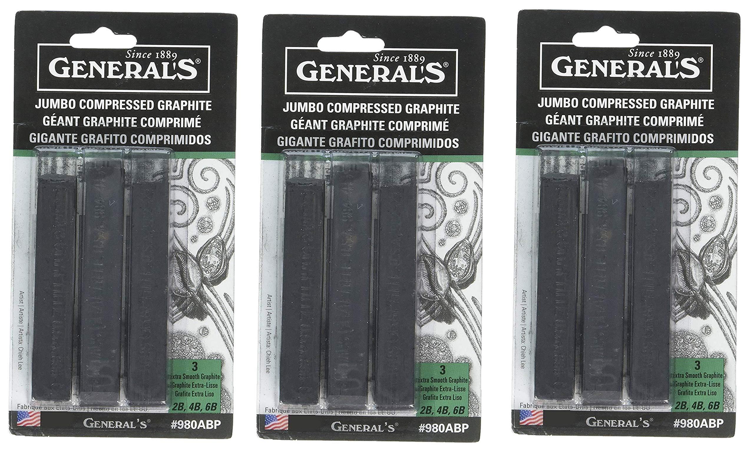 GENERAL'S 980ABP Jumbo Graphite Sticks (3 Pack) (Тhrее Pаck) by GENERAL'S