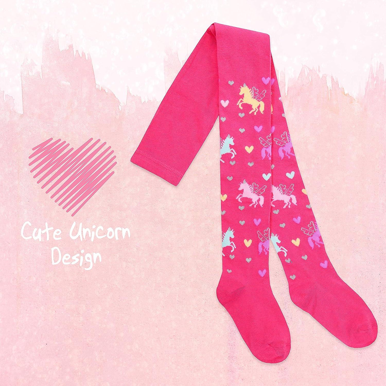 Metzuyan 2 4 Pack Girls Tights Unicorn Fox Owl Striped Dotted Cute Cotton Soft 2-8 YRS