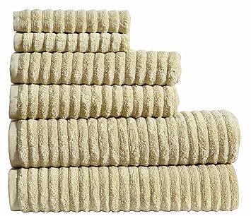 SweetNeedle – Juego de toallas de 6 piezas onduladas sin trenzar (2 toallas de baño