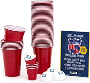 """""""EVIL"""" JARED's Bicchieri per BEER PONG   Set da 50 bicchieri rossi + 4 palline da Beer Pong   Gioco alcolico per adulti   Festa"""
