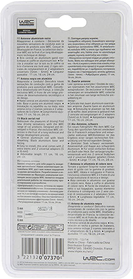 Wrc 007370 Alu Antenne Schwarz Größe 11 16 24 Cm Auto