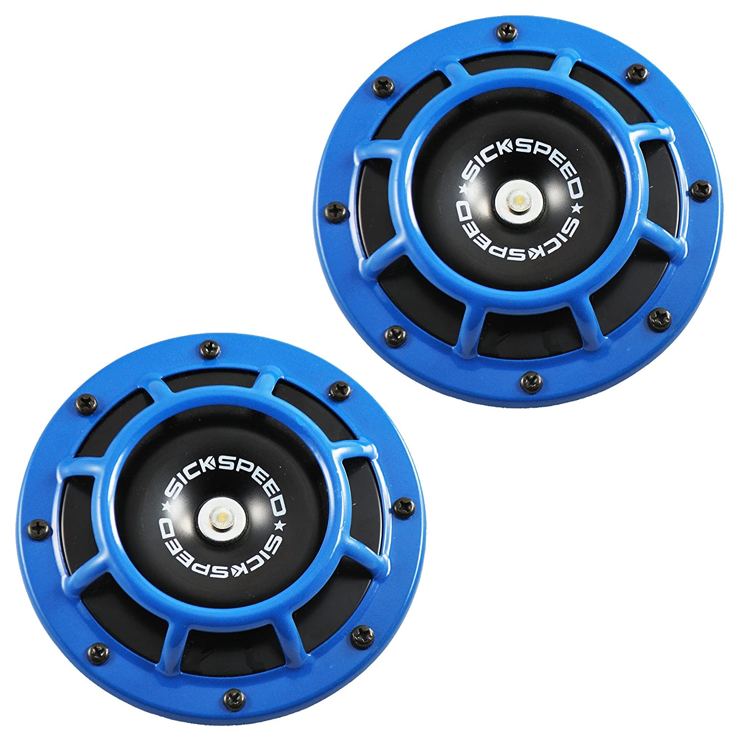 Sickspeed 2Pc Blue Super Loud Compact Electric Blast Tone Horn for Car//Truck//SUV 12V P3 for Porsche Panamera
