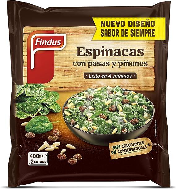 Findus Espinaca Pasas Piñones Congelados, 400g