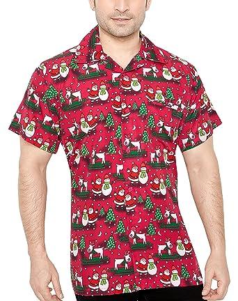 CLUB CUBANA Hawaiiisch drucken Herren Aloha Strand Xmas Hemd S