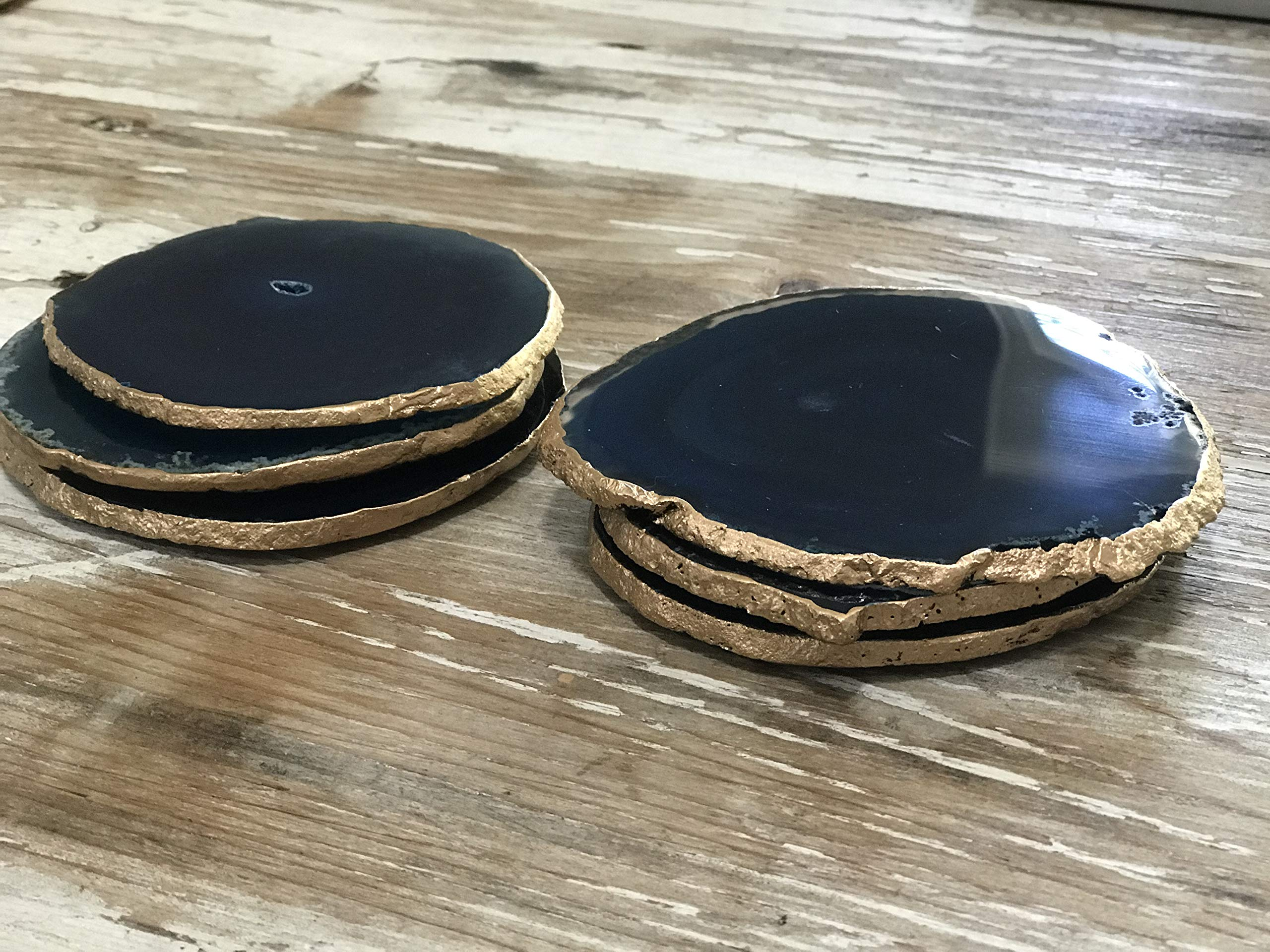 Agate Coasters - Teal Colored Agate Coasters - Gold Rimmed - Set of 4