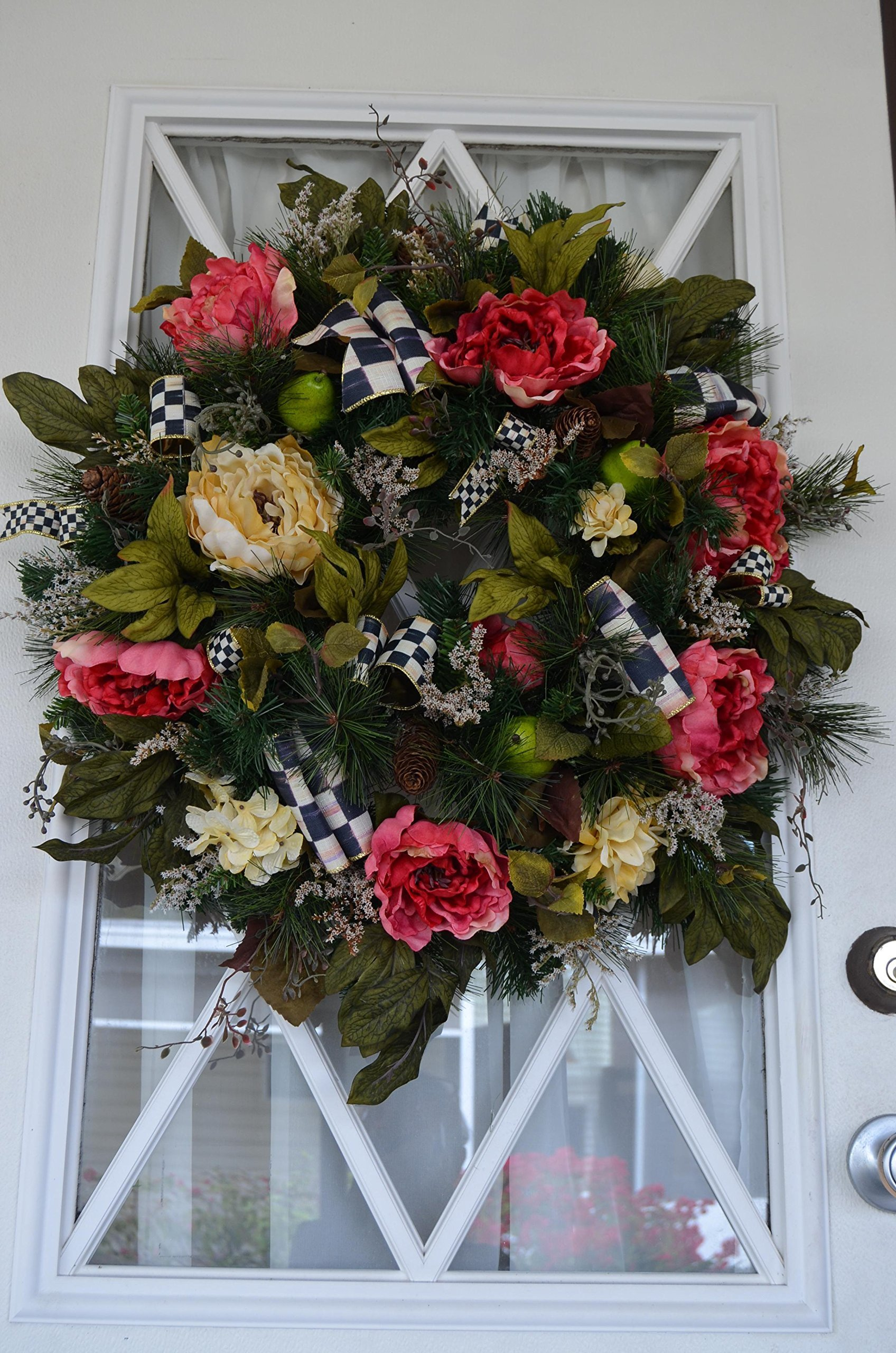 Wreath for doors. 24inch in diameter. =Life like silk arrangement FREE SHIPPING