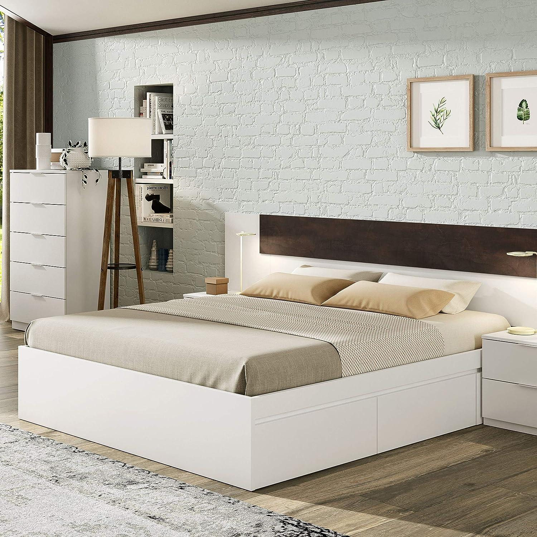 Habitdesign Cama con 4 cajones para somier 150 x 190 cm, Color Blanco artik, 196 x 156 x 37 cm