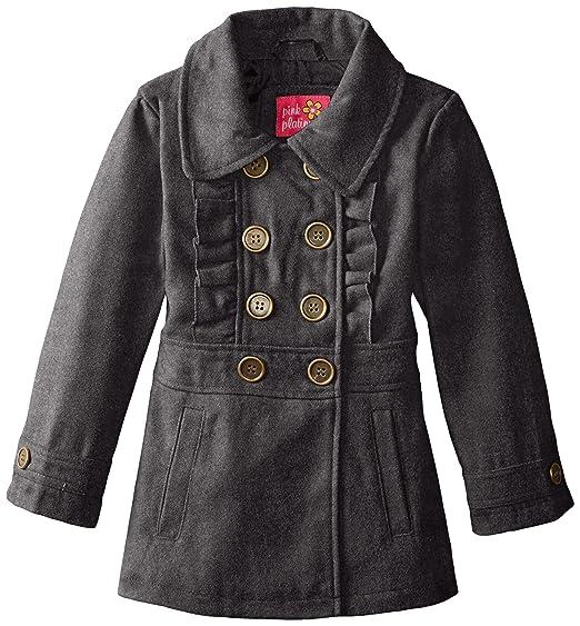 1456181f0 Amazon.com  Pink Platinum Girls  Faux Wool Peacoat with Ruffle  Clothing