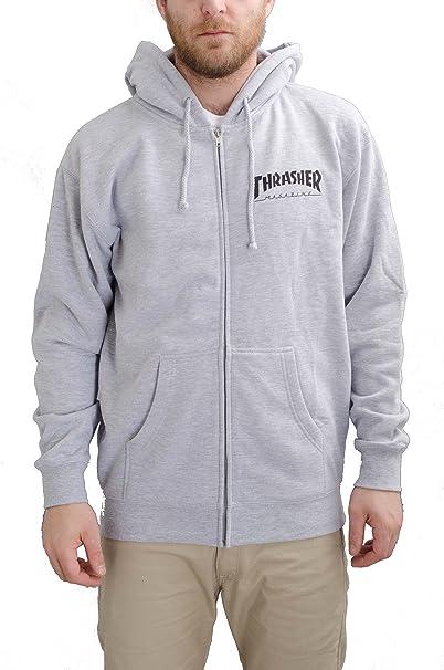 Thrasher - Sudadera Zip Hooded Hoody Logo hombre - talla: one size gris XL : Amazon.es: Ropa y accesorios