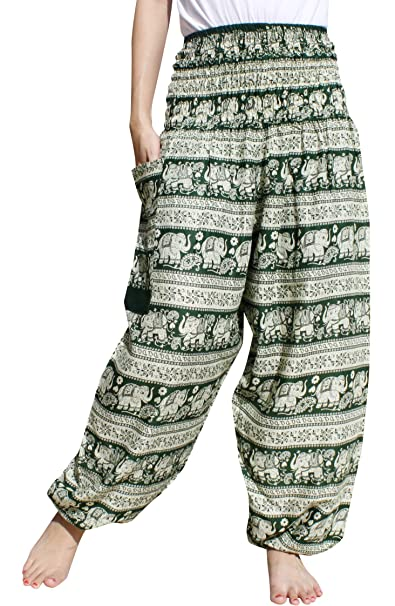 c05d38c87f Raan Pah Muang Women's Smocked Waist Rayon Printed Summer Harem Baggy Boho  Pants, Small,