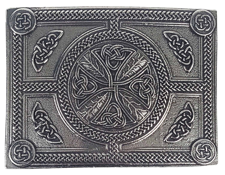 New New Boys Chrome Celtic Knot Rectangular Scottish Kilt Belt Buckle for Tartan