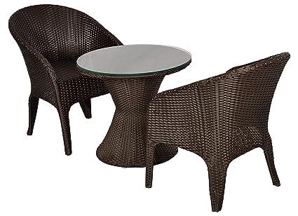 FurniFuture™ Eiffel Outdoor Patio Furniture Set 2+1 - (Brown)