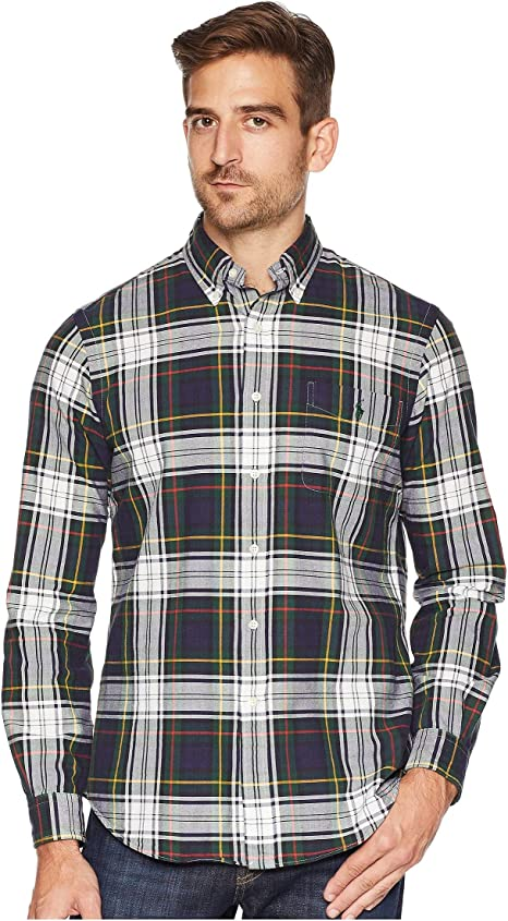 Ralph Lauren Mens Blue Red Plaid Button Down Oxford Shirt Size Large $89.50