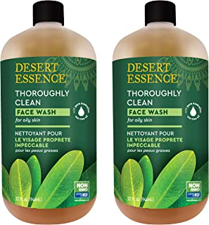product image for Desert Essence Thoroughly Clean Face Wash - Original - 32 Fl Oz - Pack of 2 -Tea Tree Oil -For Soft Radiant Skin - Gentle Cleanser - Extracts Of Goldenseal, Awapuhi, & Chamomile Essential Oils