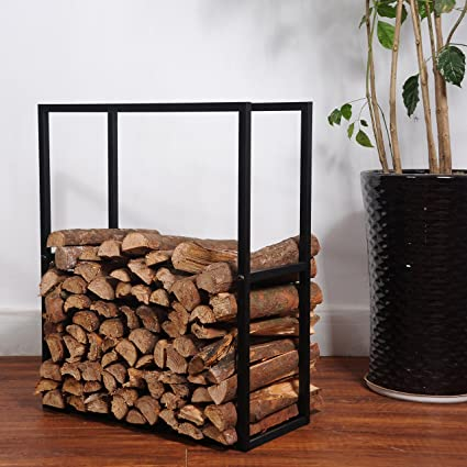 Etonnant Black Metal Powder Coated Finish Fire Wood Holder Rack / Indoor U0026 Outdoor  Fireplace Log Bin