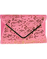 Girly Handbags New Laser Cut Faux Leather Clutch Bag Frame Elegant Womens