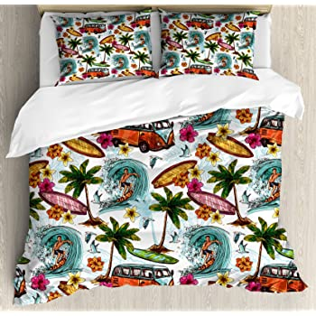 Ambesonne Ocean Duvet Cover Set, Hawaiian Surfer on Wavy Deep Sea Retro Style Palm Trees Flowers Surf Boards Print, 3 Piece Bedding Set with Pillow Shams, ...