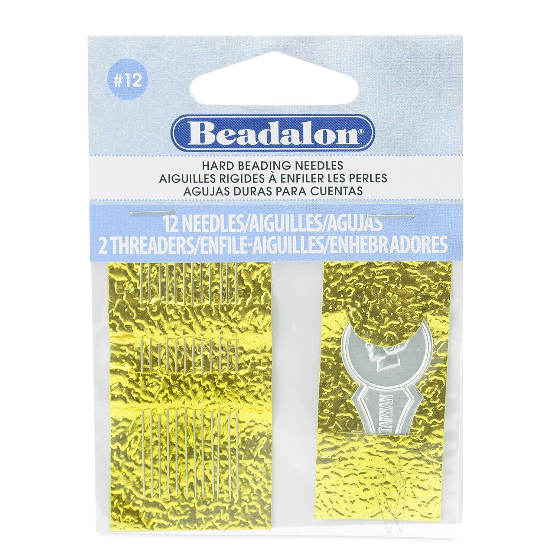 Beadalon Hard Needles #12 12 Pieces + 2 Threader JNEEH12/12