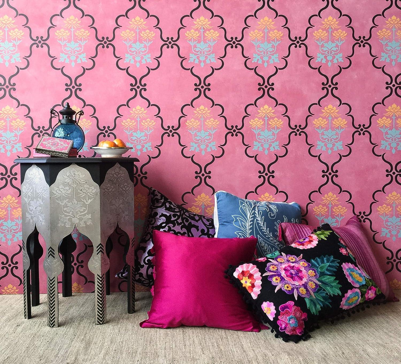 Raj Trellis Boho Chic Decor Wall Stencil for Painting Indian Style Wallpaper Design Royal Design Studio