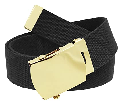 Men s Golf Belt in 1.5 Gold Brass Slider Buckle with Canvas Web Belt Small  Black aab2799d9e9