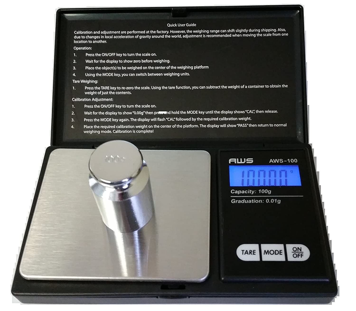 American Weigh Scale AWS-100 Digital Pocket Scale, 100g X 0.01g Resolution American Weigh Scales AWS-100-BLK