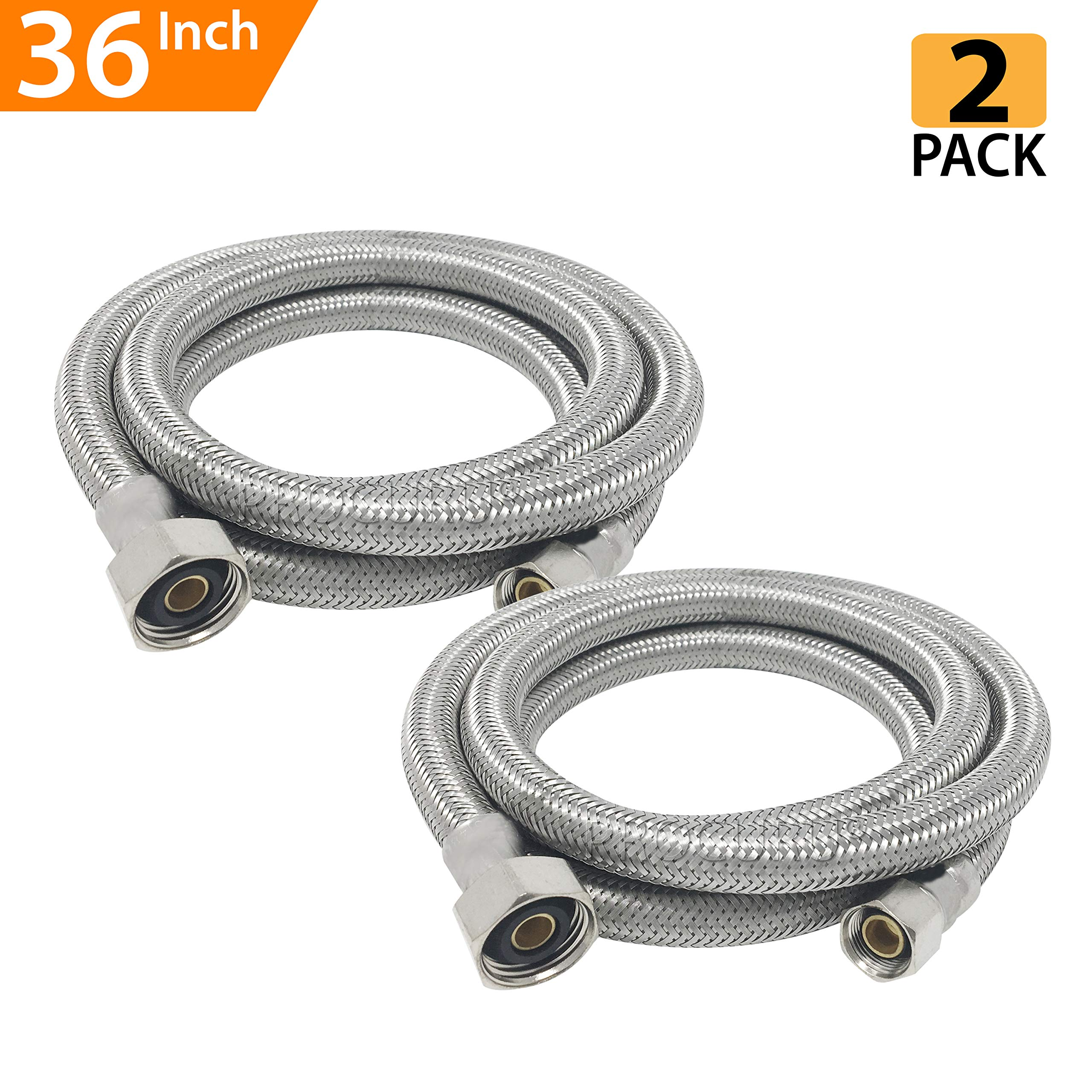 [2-Pack] PROCURU PCFC381236-2, Faucet Supply Connector, 36'' Length Braided Stainless Steel, 3/8-Inch Female Compression x 1/2-Inch FIP, 2-Pack (36-Inch)