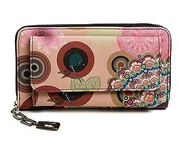 3fa9209da2d8b Damen Geldbörse Portemonnaie bunt groß mit Blumen-Print XL Damenbörse mit  Reißverschluss und extra viele