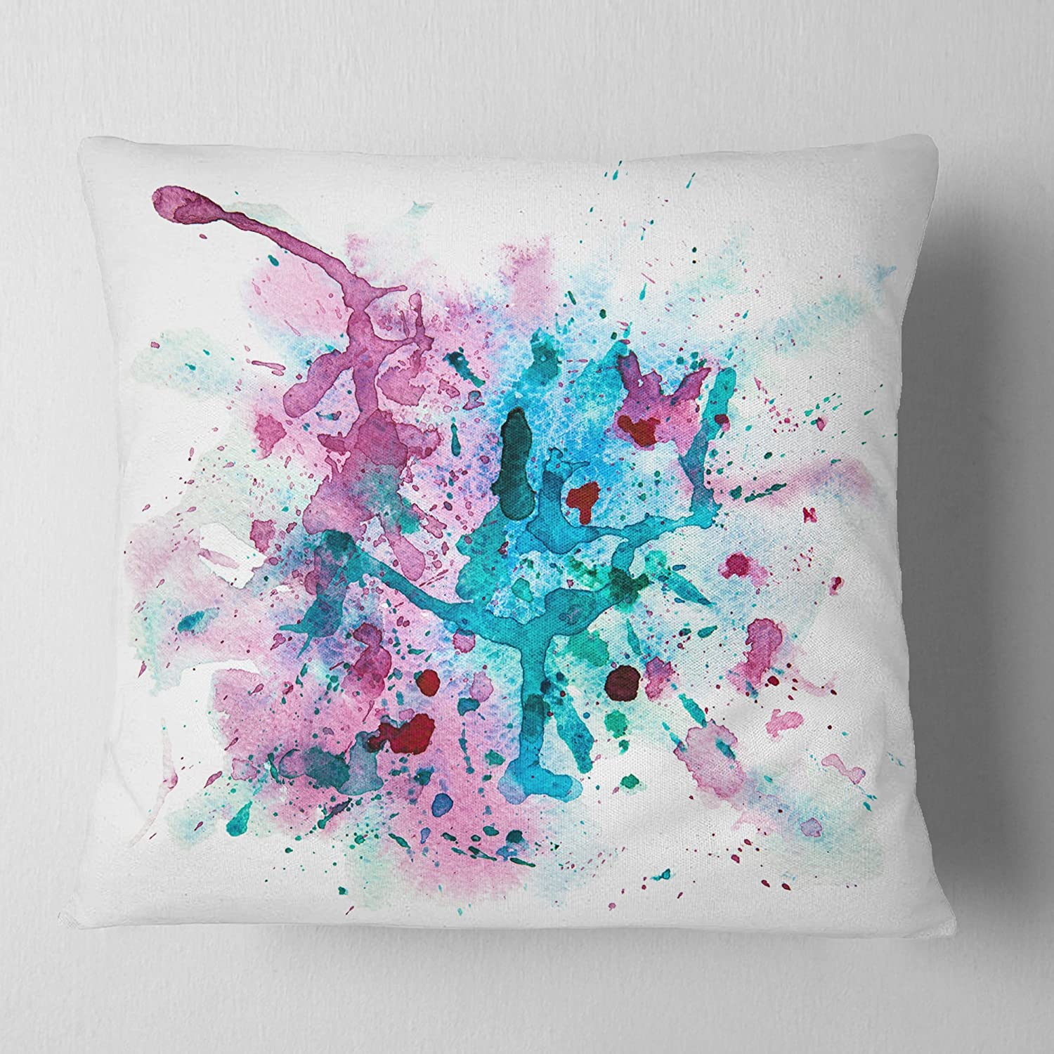 Designart CU7441-18-18 Blue and Purple Paint Stain Abstract Watercolor Throw Pillow 18 x 18