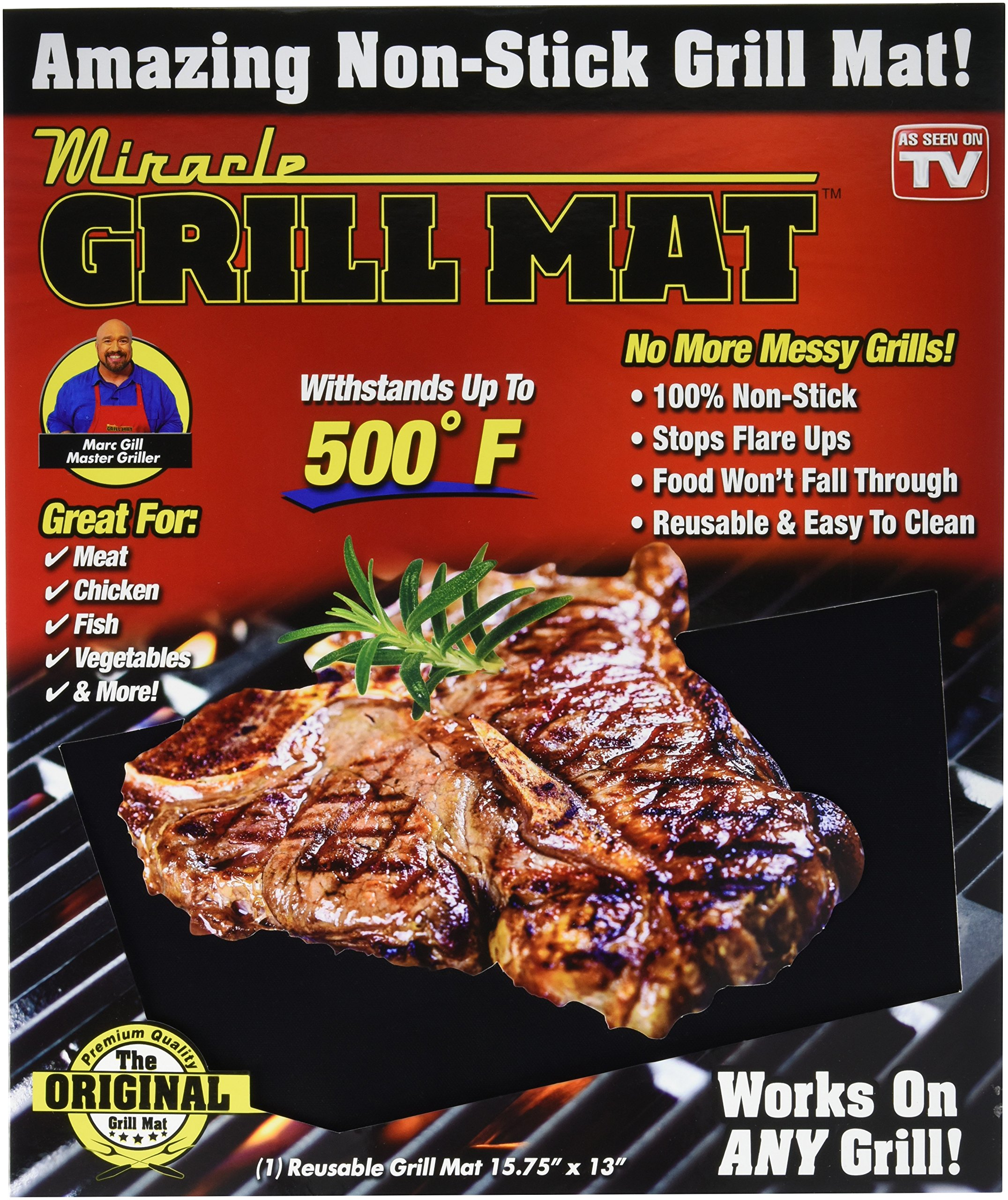 Miracle Grill Mat, One Size, Black by Miracle