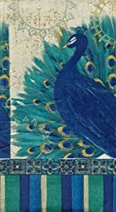 Cypress Home Set of 15 Guest Towels Hostess Buffet Paper Napkins ~ Resplendent Peacock