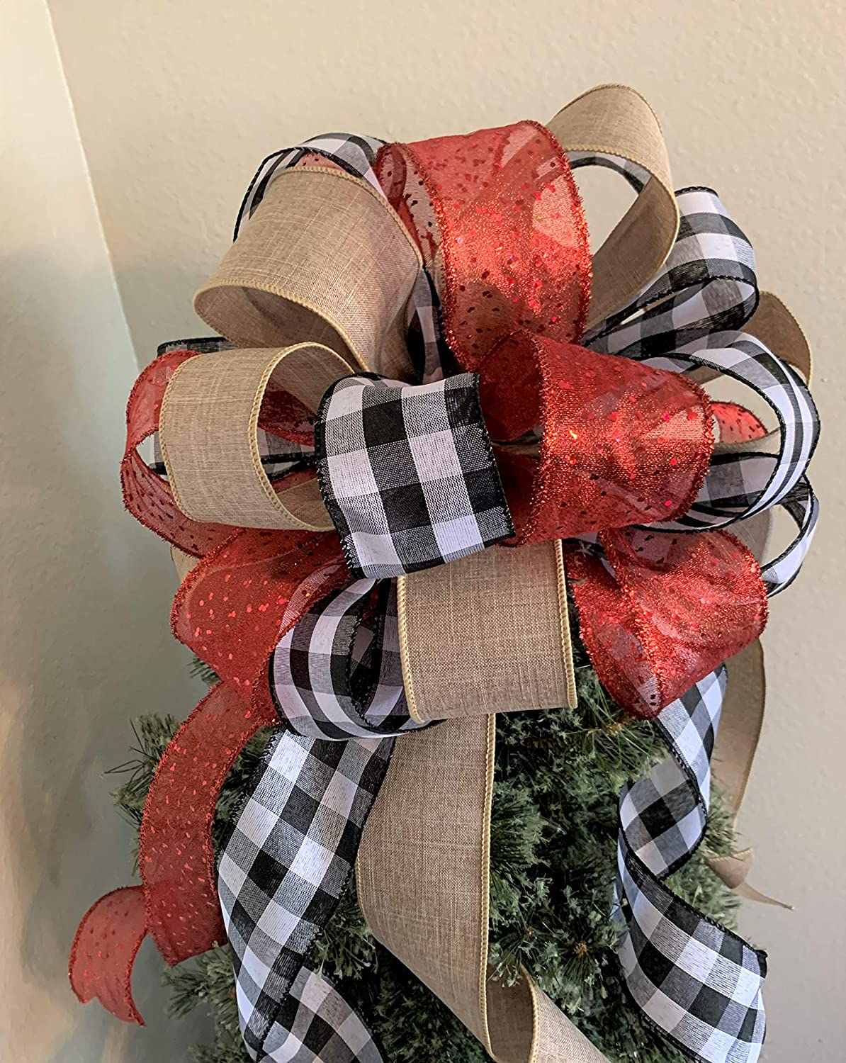 Tree Topper Black and white Plaid Tree Topper Bow,