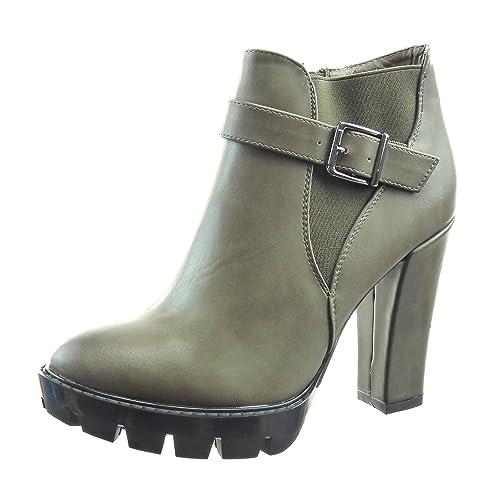 Sopily - Zapatillas de Moda Botines Chelsea Boots Tobillo Mujer Hebilla Talón Tacón Ancho Alto 11 CM - Caqui FRF-10-FP002 T 41: Amazon.es: Zapatos y ...