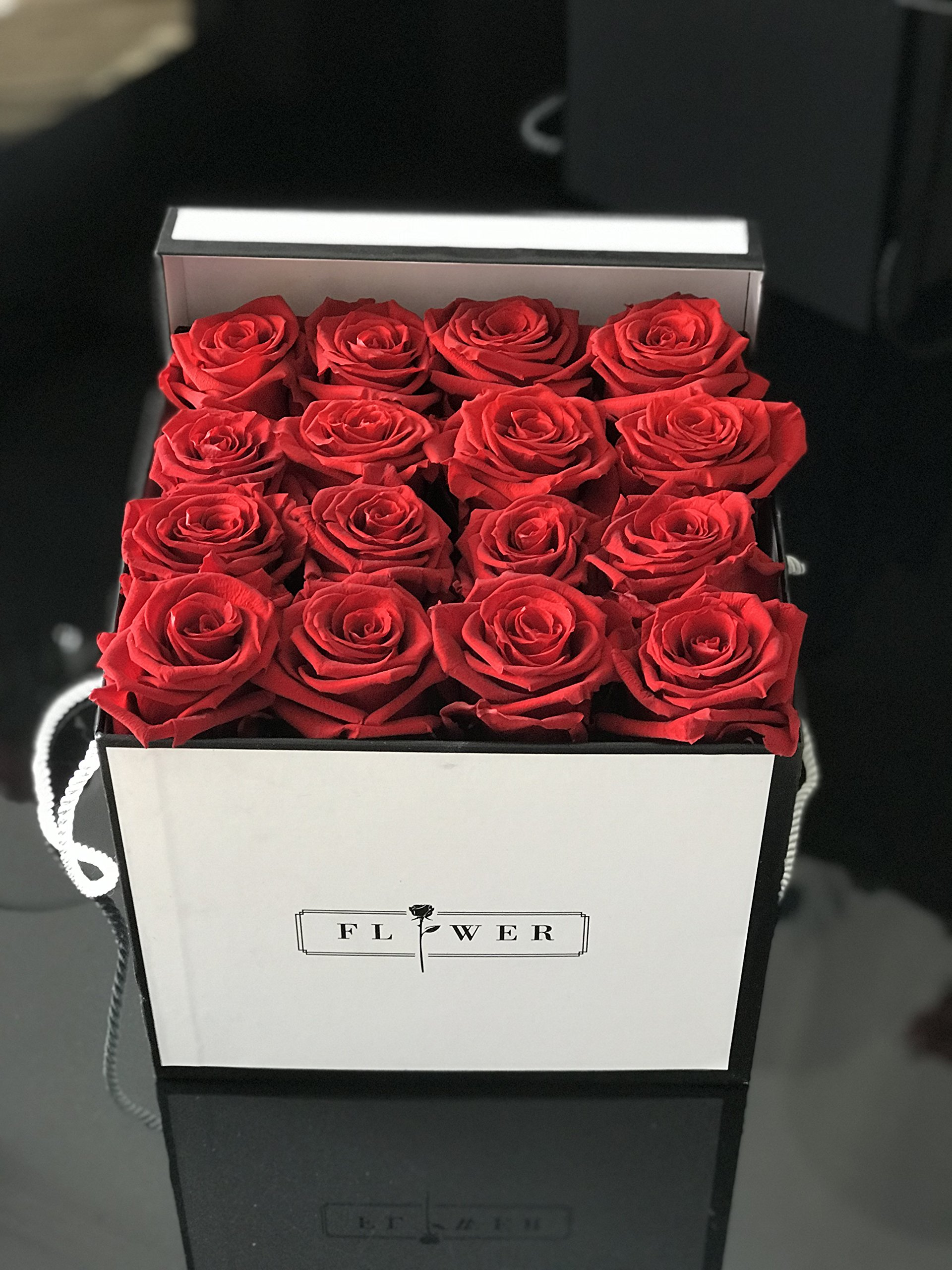 World's Longest Lasting Roses 16 Fresh Cut Red Roses in Soft white square box ''SHE WILL LOVE IT''