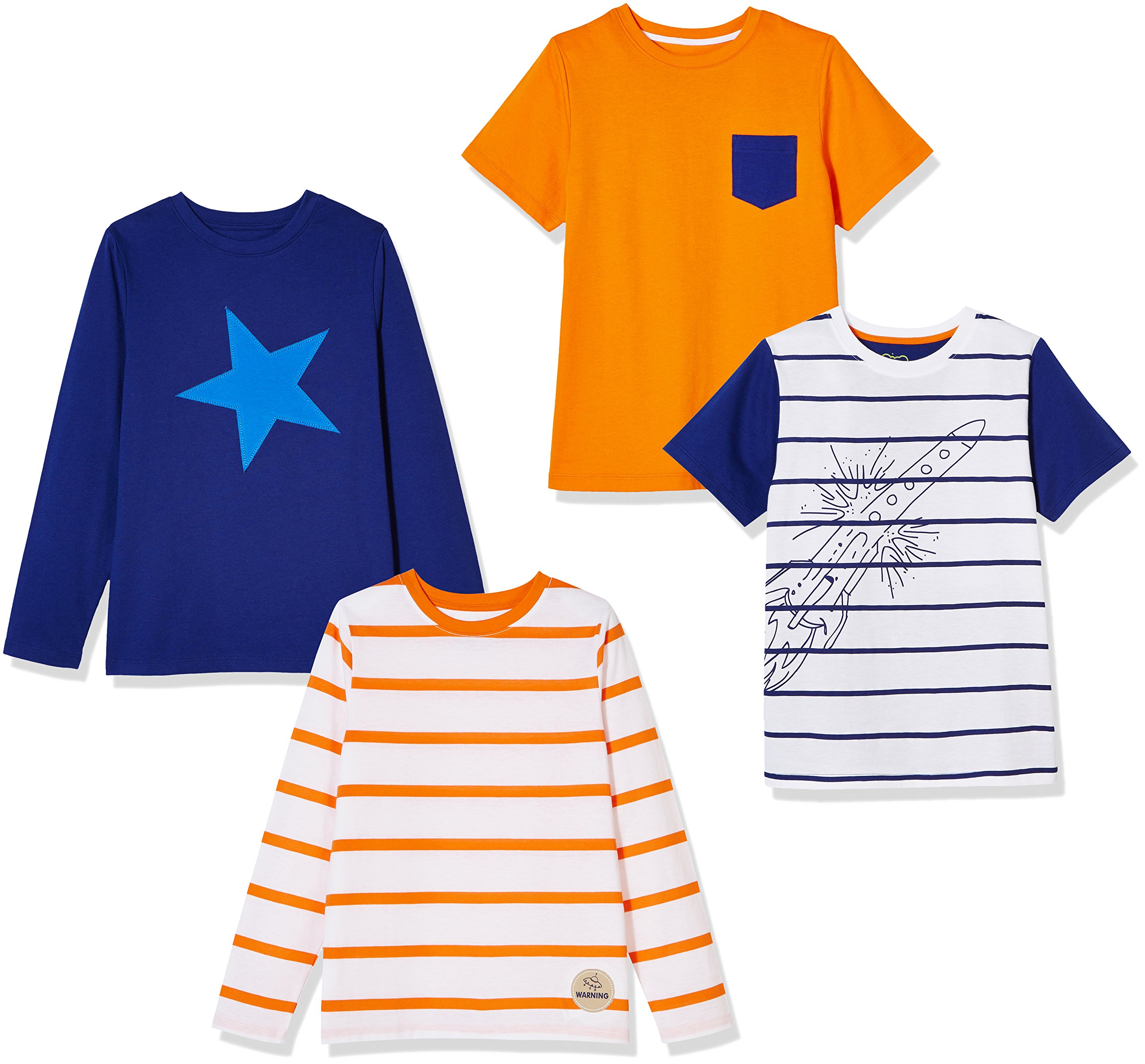 A for Awesome Boys 4 Pack Cotton Jersey Tees Medium Rocket Multipack