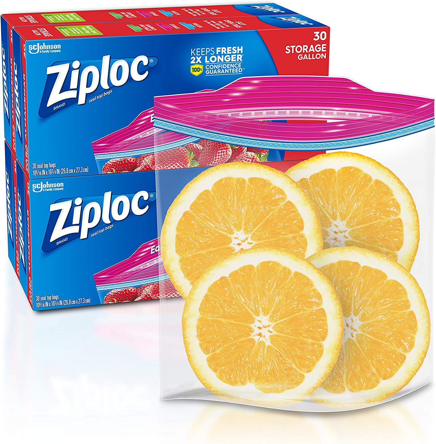 Ziploc Slider Storage Bags with New Grip 'n Seal Technology, For Food, Sandwich, Organization and More, Gallon, 30 Count, Pack of 4 (120 Total Bags)