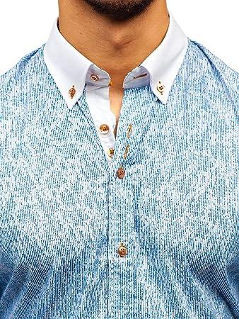 BOLF Hombre Camisa De Manga Larga Elegante Cuello Americano Slim Fit 2B2