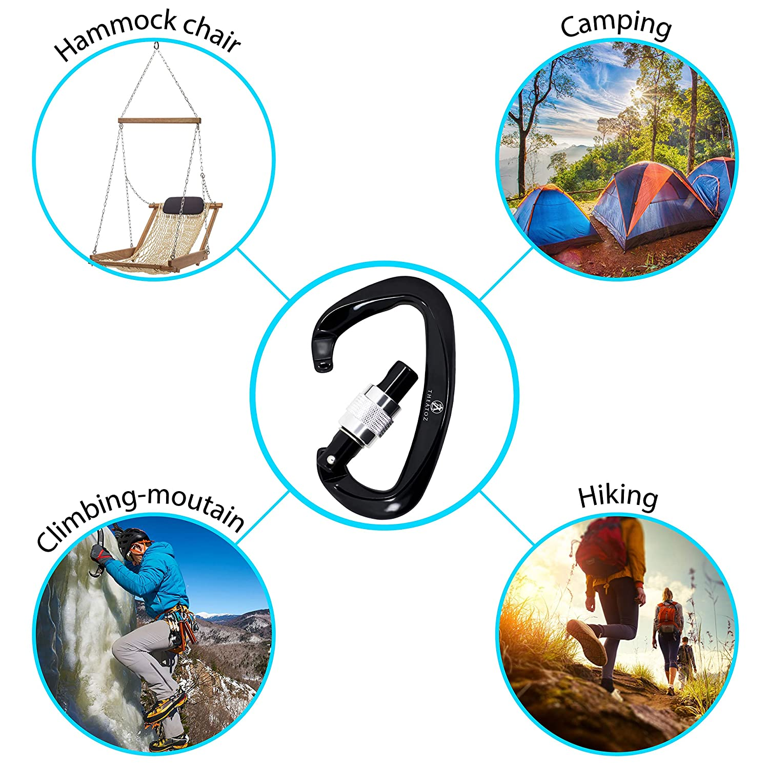 for Mountain Rock Climbing Rappelling Hiking Camping Hammock Swing Rescue Theatoz Black Screwgate Carabiner Climbing Screw Locking Aluminum Alloy Light Weight Strong Shape Load Up 25KN//5500 Lbs
