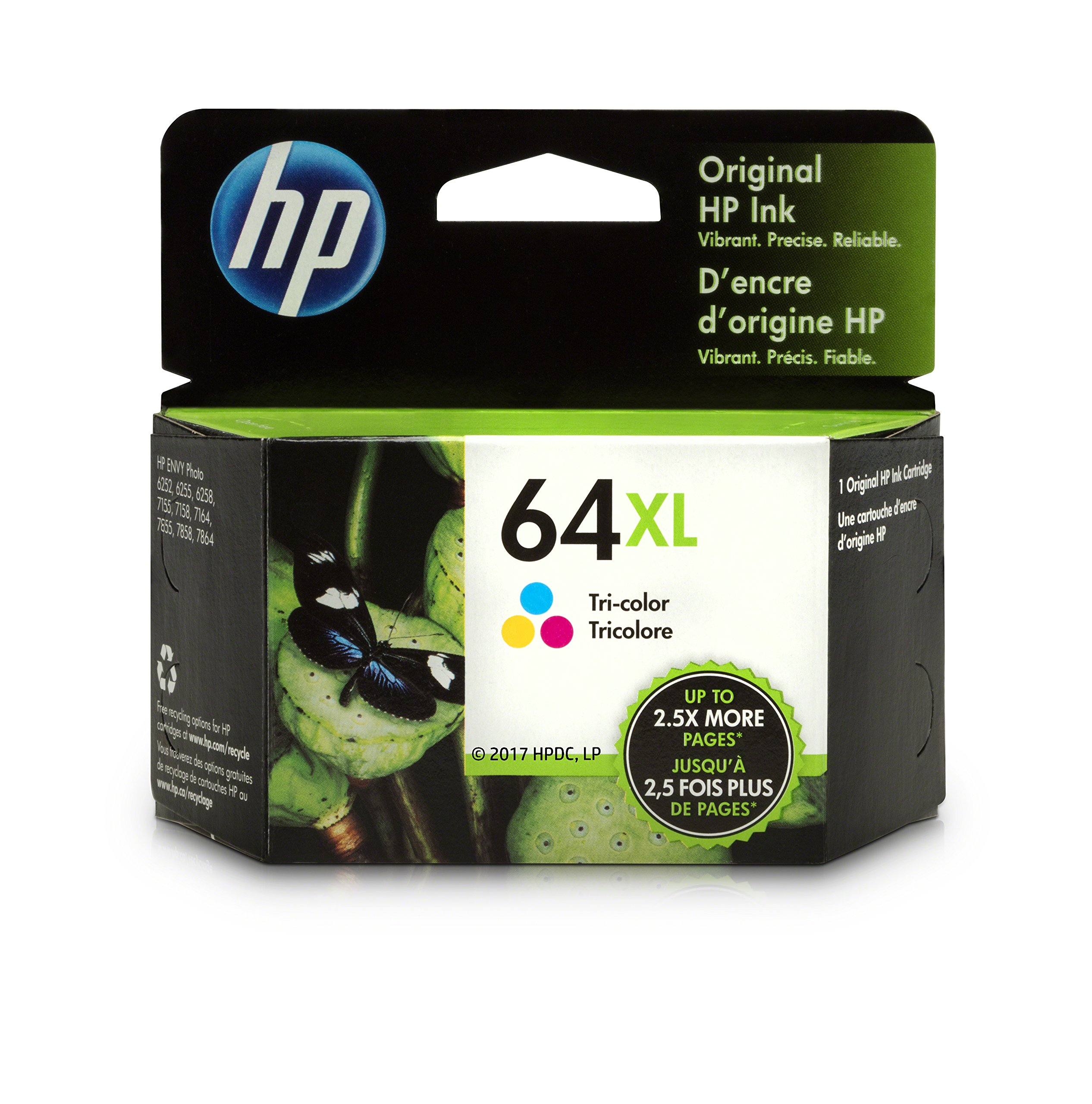 HP 64XL Tri-Color High Yield Original Ink Cartridge (N9J91AN) for HP Envy Photo 6252 6255 6258 7155 7158 7164 7855 7858 7864 HP Envy 5542