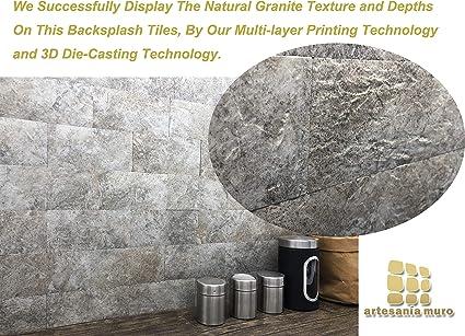 artesan/ía muro Kitchen Backsplash Tiles Anti-Moldy,13.4 inch x 6.7 inch per Tile Adhesive Wood Grain Fire Proof Water Proof Pack of 11 Tiles