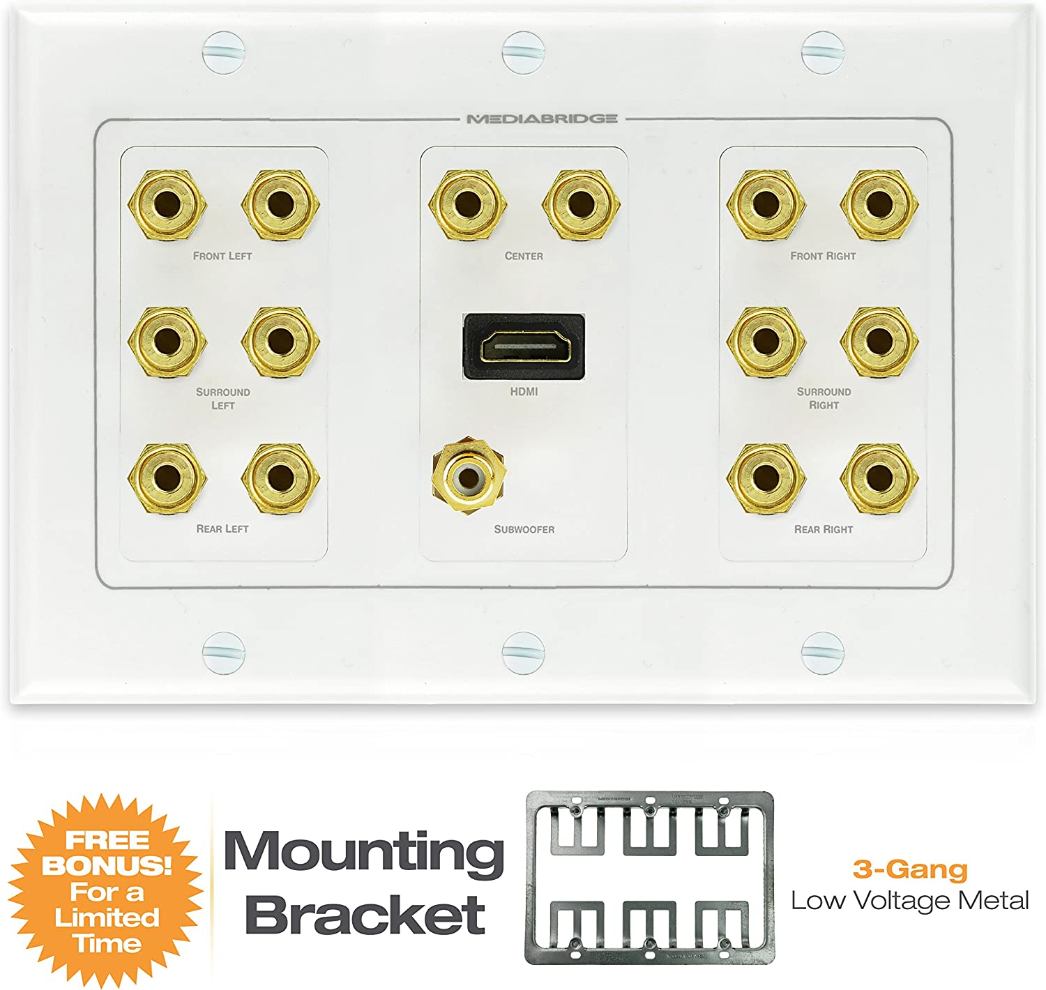 ARC 2 Port Part# WP1-HDMIX2 1-Gang - Supports 4K Limited TIME Offer: Free Low Voltage Metal Mounting Bracket - 2-Piece Inset Wall Plate for 2 HDMI 3D Mediabridge HDMI Wall Plate