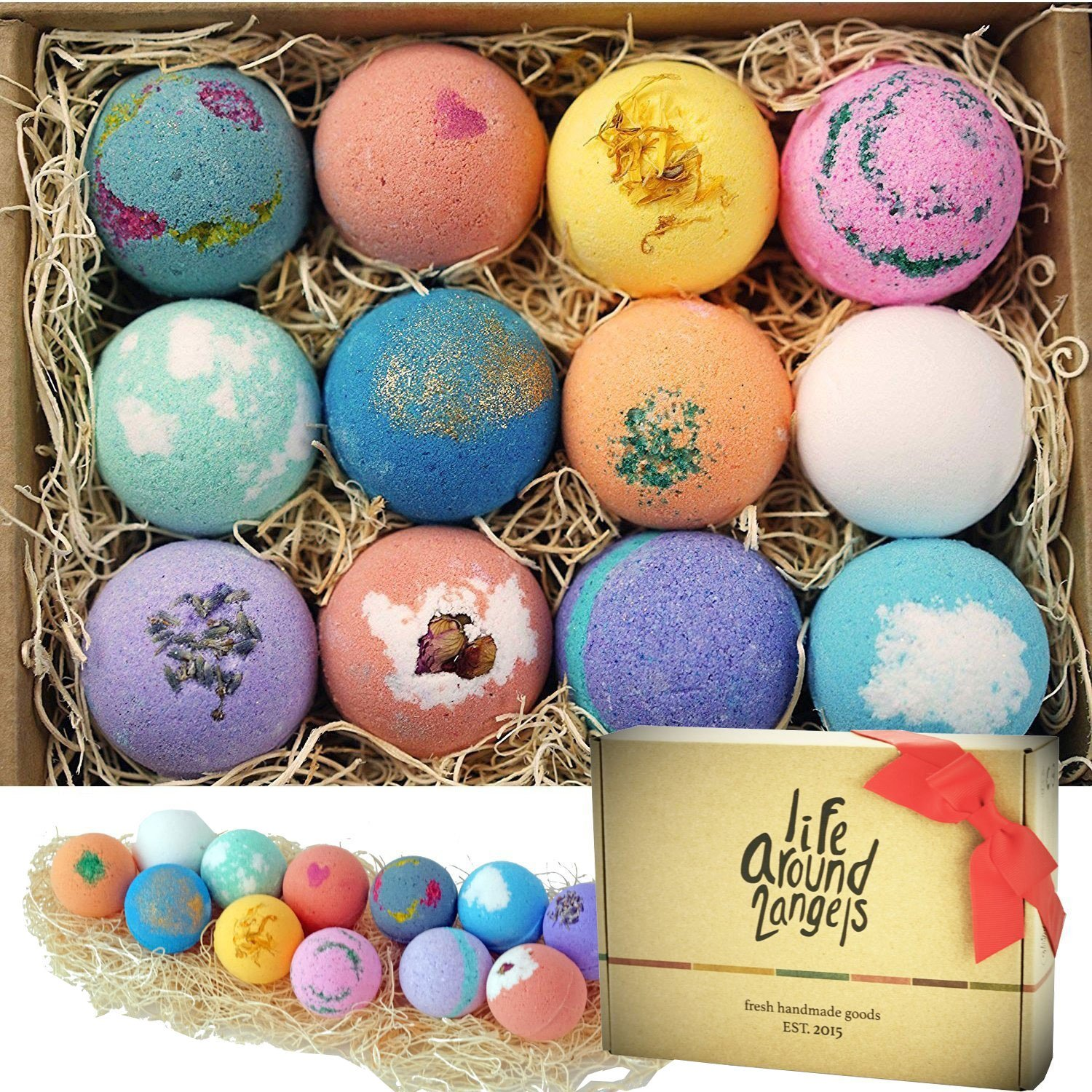 LifeAround2Angels Bath Bombs Gift Set 12 USA made Fizzies, Shea & Coco Butter Dry Skin Moisturize, Perfect for Bubble & Spa Bath ABB12