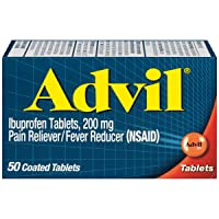 Advil Coated Tablets Pain Reliever and Fever Reducer, Ibuprofen 200mg, 50 Count, Fast-Acting Formula for Headache Relief, Toothache Pain Relief and Arthritis Pain Relief